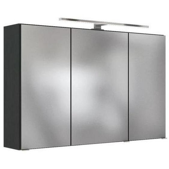 Mid.you Spiegelschrank Grau , Glas , Nachbildung , 6 Fächer , 100x64x20 cm