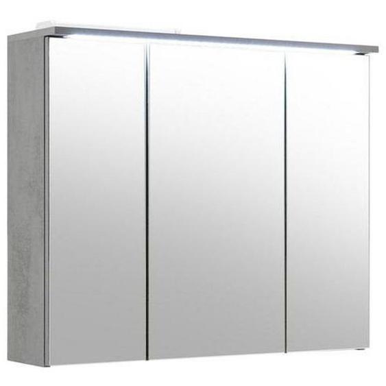Mid.you Spiegelschrank Grau , Holzwerkstoff , Nachbildung , 6 Fächer , 80x68x23 cm