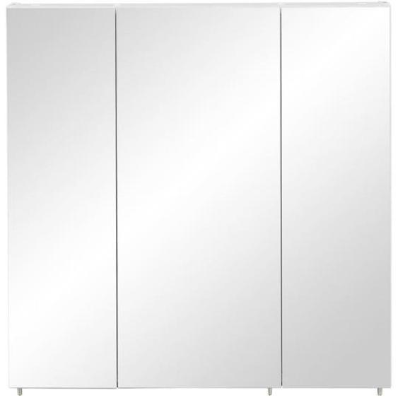 Mid.you Spiegelschrank Weiß , Glas , 6 Fächer