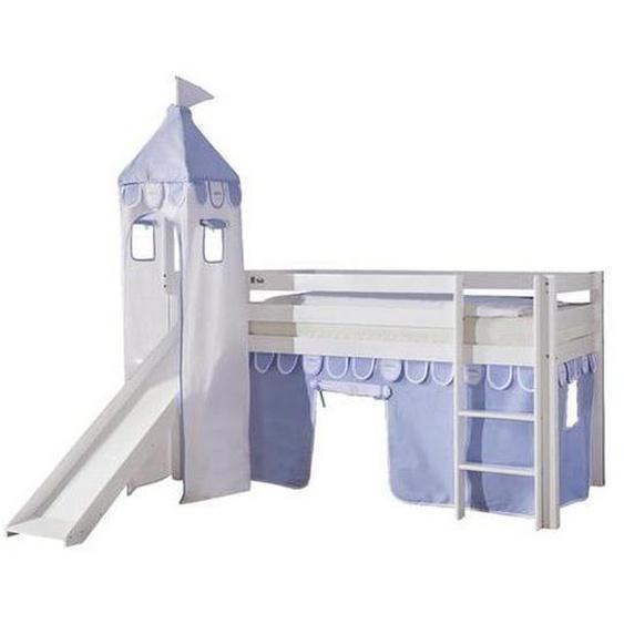 Mid.you Spielbett Buche massiv 90/200 cm Weiß, Blau , Holz , 90x200 cm