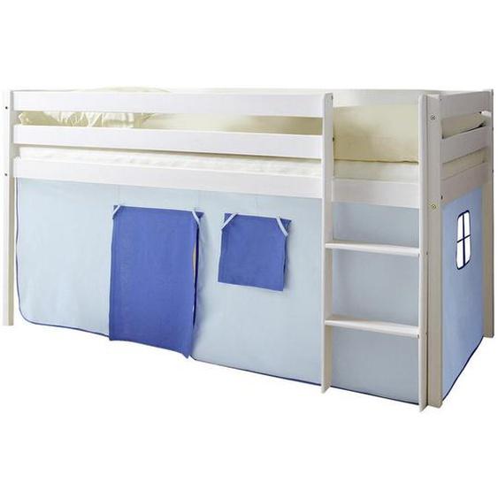 Mid.you Spielbett Kiefer massiv 90/200 cm Weiß, Blau, Blau , Holz , 90 cm