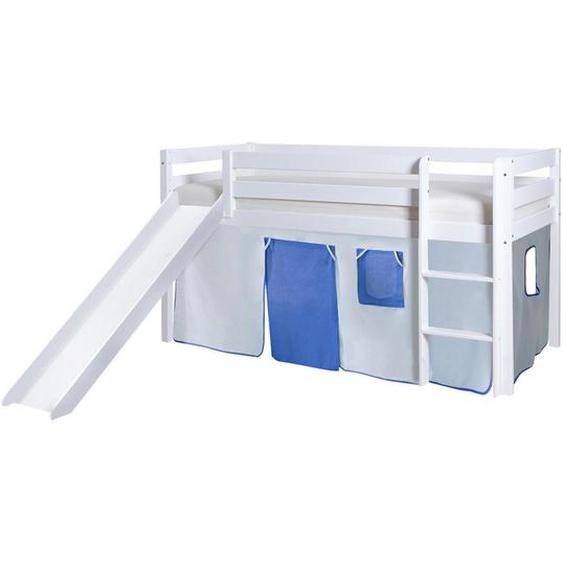Mid.you Spielbett Kiefer massiv 90/200 cm Weiß, Blau, Blau , Holz , 90x200 cm