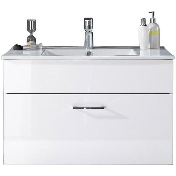 Mid.you Waschtischunterschrank Weiß , Stein , 1 Schubladen , 80x50x46 cm