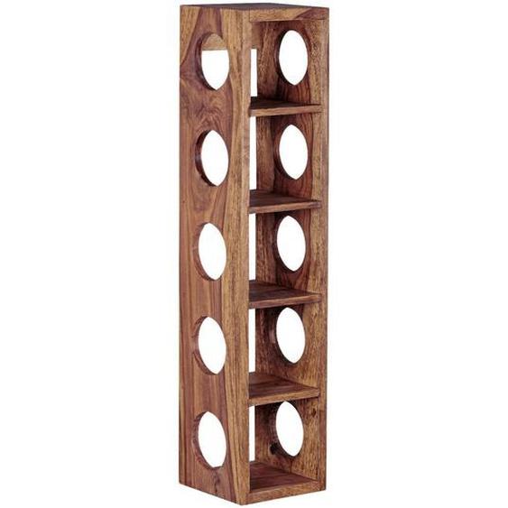 Mid.you Weinregal Sheesham massiv Braun , Holz , 15x70x15 cm