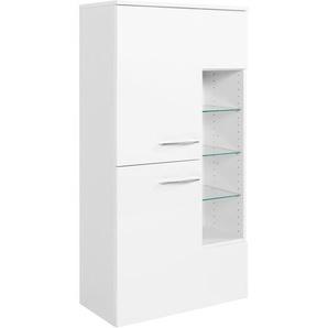 Midischrank in weiß mit Hochglanzfront, 2 Türen, 1 Regalfach, 2 Einlegeböden und 3 Glasböden, Maße: B/H/T ca. 65/130/35 cm