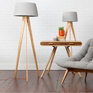 Miller Stehlampe, Holz mit orangem Kabel