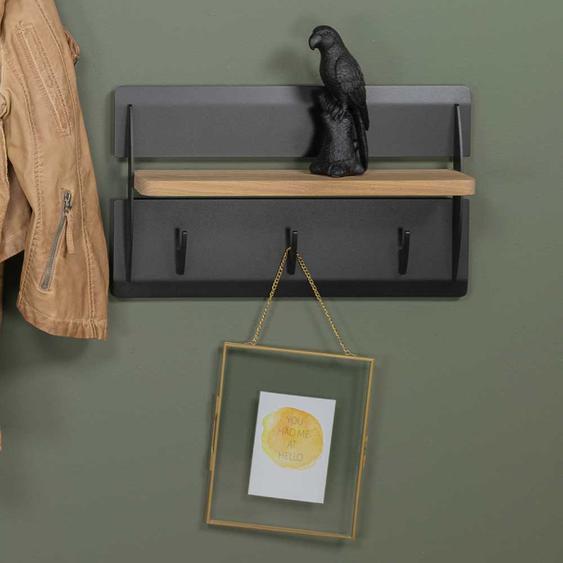 Mini Garderobe in Schwarz aus Stahl 3 Kleiderhaken