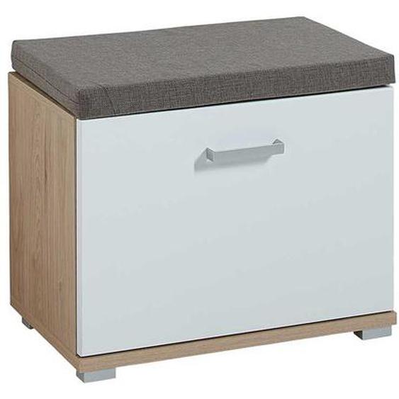Mini Garderobenbank in Weiß und Eichefarben 50 cm hoch