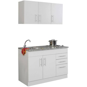Mini-Küche in weiß Breite 120 cm TERAMO-03 B x H x T ca. 120 x 200 x 60cm