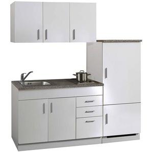 Mini Küche inkl. Kühlschrank, Kochmulde und Spüle TERAMO-03 Weiß B x H x T ca. 180 x 200 x 60cm