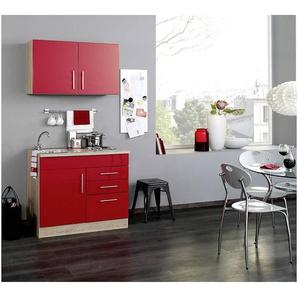 Mini-Küche TERAMO-03 Rot Hochglanz/Eiche-Sonoma B x H x T ca. 100 x 200 x 60cm
