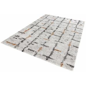 Hochflor-Teppich, Grid, MINT RUGS, rechteckig, Höhe 30 mm