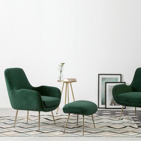 Moby 2-Sitzer Sofa, Samt in Tannengruen