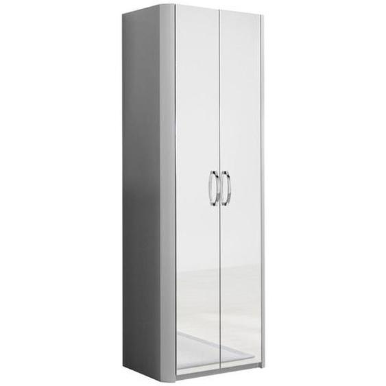 Moderano Garderobenschrank Silber , Holzwerkstoff , 1 Fächer , 66x190x38 cm