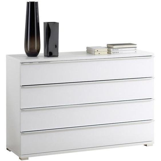 Moderano Kommode Weiß , Glas , 4 Schubladen , 120x80x40 cm