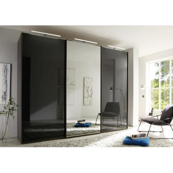 Moderano Schwebetürenschrank 3-türig Grau , Metall , 6 Fächer , 280x222x68 cm
