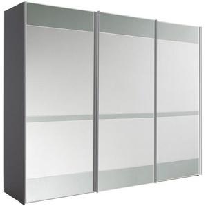 Moderano Schwebetürenschrank 3-türig Grau , Holzwerkstoff , 6 Fächer , 298x222x68 cm