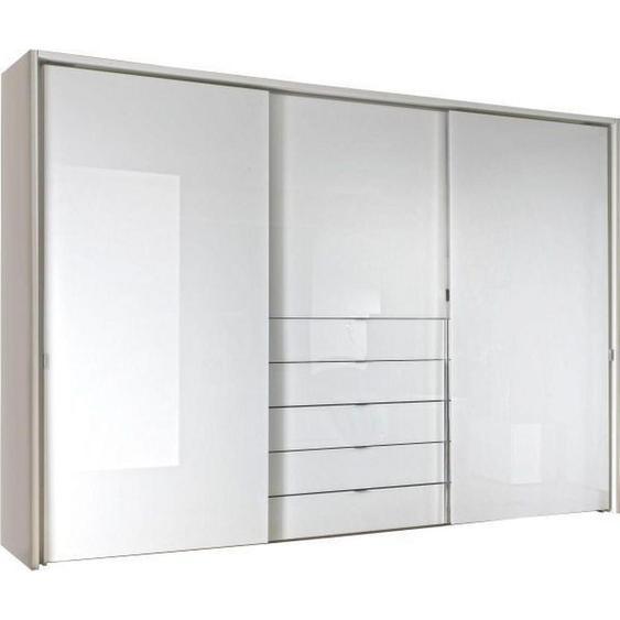 Moderano Schwebetürenschrank 3-türig Weiß , Holzwerkstoff , 6 Fächer , 5 Schubladen , 298x240x68 cm