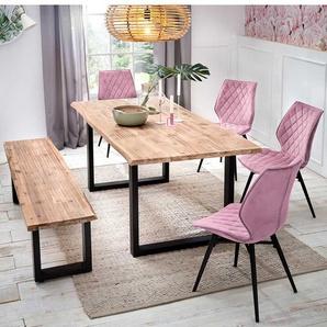 Moderne Essgruppe mit Baumkantentisch St�hlen in Rosa (6-teilig)