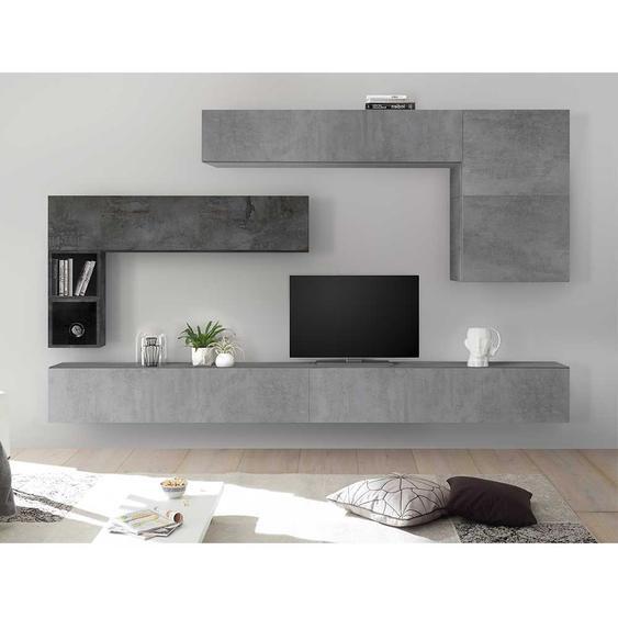 Moderne Schrankwand in Beton Grau und Dunkelgrau hängend (8-teilig)