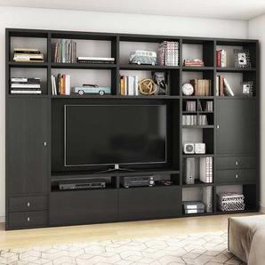 Moderne TV Wand in Eiche Schwarz Braun Made in Germany
