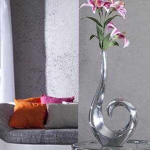 Moderne Vase WAVE 50cm silber Aluminium poliert Dekoration