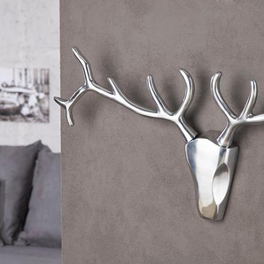 Design Wanddekoration Geweih Hirsch VEADO 90cm Metall-Aluminium Legierung