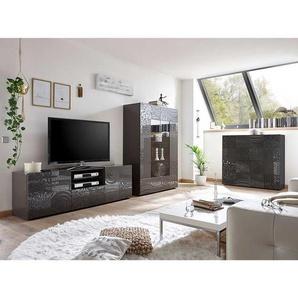 Moderne Wohnwand in Anthrazit Hochglanz Siebdruck verziert (3-teilig)
