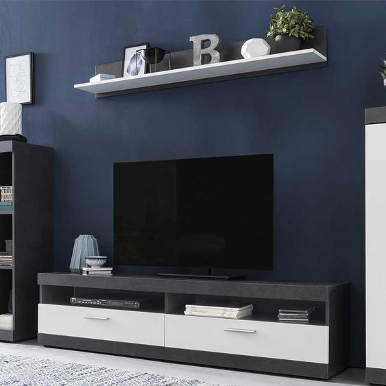 Moderne Wohnzimmermöbel in Weiß Dunkelgrau (2-teilig)