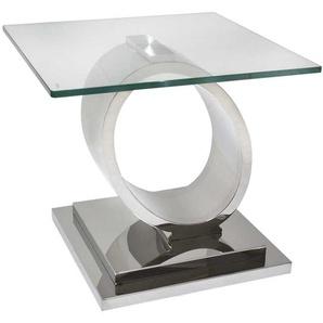 Moderner Couchtisch aus Glas und Edelstahl 60 cm breit