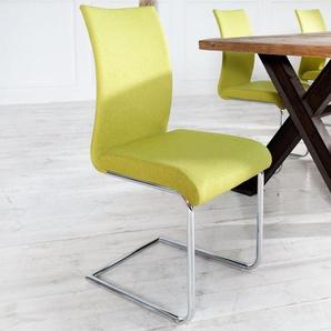 Moderner Design Freischwinger Stuhl SUAVE lemon mit Chromgestell