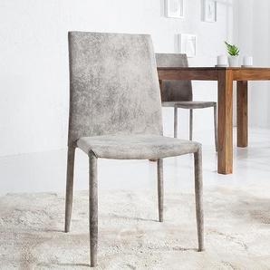 Moderner Design Stuhl MILANO antik grau Microfaser Bezug
