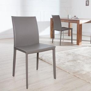 Moderner Design Stuhl MILANO grau hochwertiger Lederfaserstoff