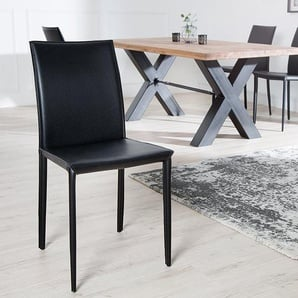 Moderner Design Stuhl MILANO schwarz Echtleder Bezug