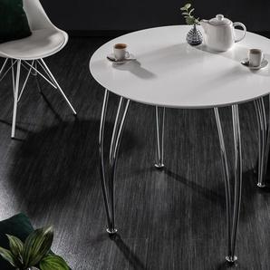 Moderner Esstisch ARRONDI 90cm weiß chrom rund Konferenztisch