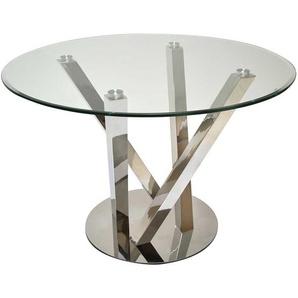 Moderner Esszimmer Tisch aus Glas und Edelstahl Gestell rund