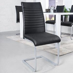 Moderner Freischwinger Stuhl APARTMENT schwarz mit Chromgestell