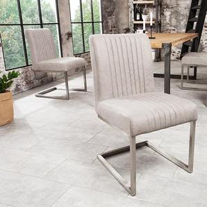 Moderner Freischwinger Stuhl BIG ASTON stone grau Edelstahlrahmen