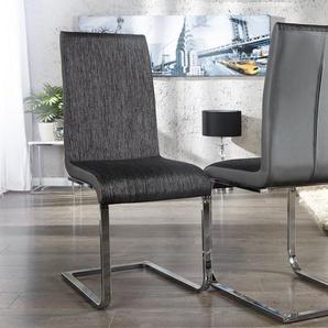 Moderner Freischwinger Stuhl METROPOLIS schwarz meliert Strukturstoff