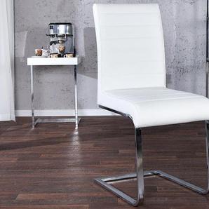 Moderner Freischwinger Stuhl STUART weiß mit Ziersteppung