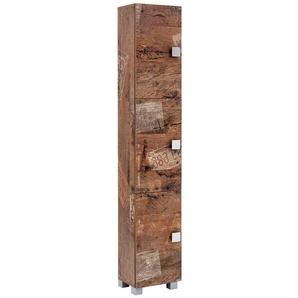Moderner Hochschrank in Holzpaletten Optik Bad