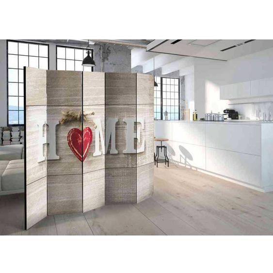 Moderner Paravent mit Home Aufschrift Holz White Wash und Rot