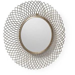 Moderner Spiegel in Messingfarben rund Stahl