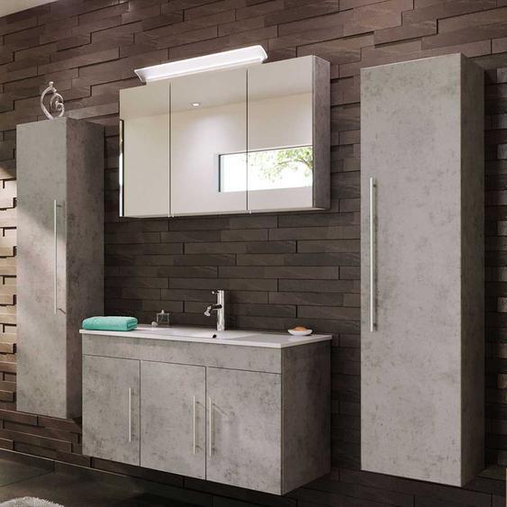 Modernes Badezimmer Set in Beton Grau h�ngend (4-teilig)