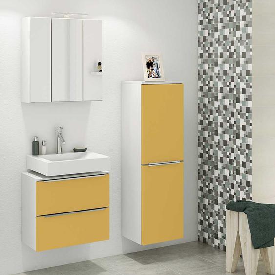 Modernes Badezimmer Set in Gelb und Wei� Made in Germany (3-teilig)