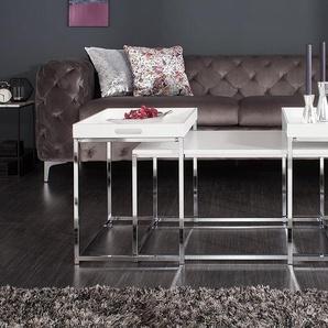Modernes Design Couchtisch 3er Set ELEMENTS 75cm weiß Chrom Tablett Tisch