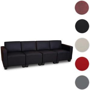 Modular 4-Sitzer Sofa Couch Lyon, Kunstleder ~ schwarz