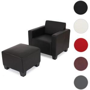 Modular Sessel Loungesessel mit Ottomane Lyon, Kunstleder ~ schwarz