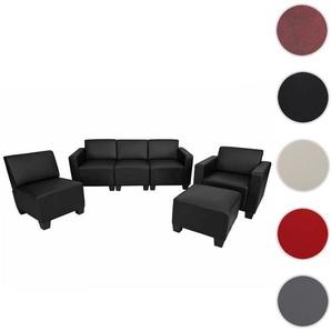 Modular Sofa-System Couch-Garnitur Lyon 3-1-1-1, Kunstleder ~ schwarz