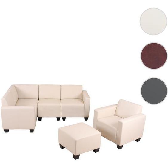 Modular Sofa-System Couch-Garnitur Lyon 4-1-1, Kunstleder ~ creme